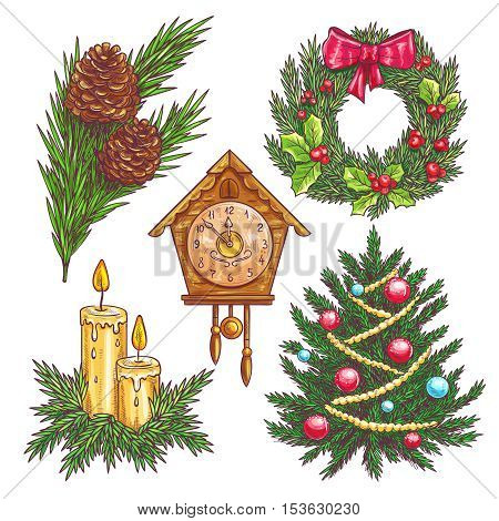 Vector hand drawn christmas decorative elements. Christmas wreath, pine branches, Christmas tree, clock chimes, candles in sketch style.
