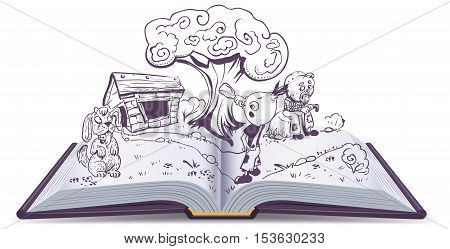 Open book story tale Cipollino. Onion boy drinks water near house godfather Pumpkin. Isolated on white vector cartoon illustration