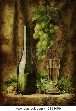 Grunge still life with white wine