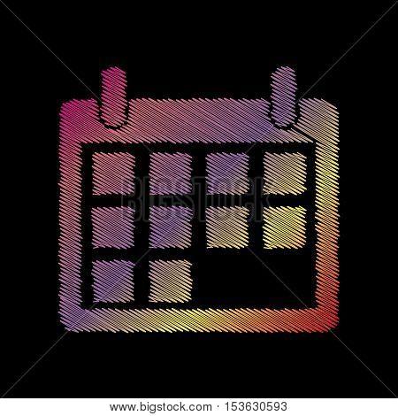 Calendar Sign Illustration. Coloful Chalk Effect On Black Backgound.