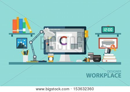 Graphic designer workplace flat design vector illustration. Side view of desktop computer with photo equipment, office objects, book and documents.