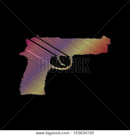 Gun Sign Illustration. Coloful Chalk Effect On Black Backgound.