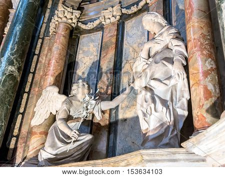 Turin Italy - december 31 2015: Royal Church of San Lorenzo interior detail in Turin Italy. The present church was designed and built by Guarino Guarini during 1668-1687.