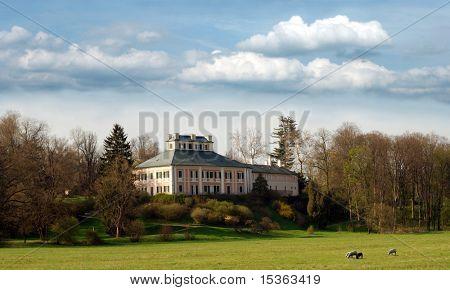Romantic landscape with castle / Ratiborice, Czech Republic