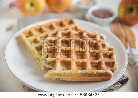 Healthy waffles with apple, oatmeal and seeds