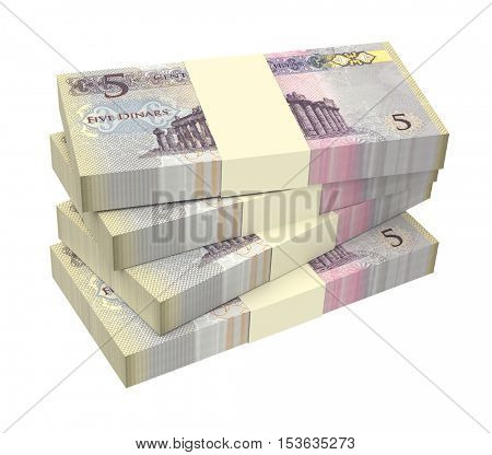 Libyan dinar bills isolated on white background. 3D illustration.