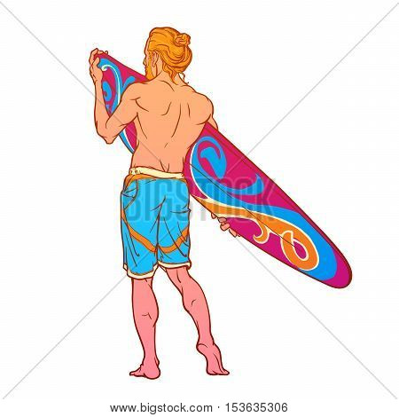 Summer water sport activities. Athletic shaped surfer wearing swimming shorts with decorated surfboard. Back view. Hand drawn painted sketch isolated on white background. EPS10 vector illustration.