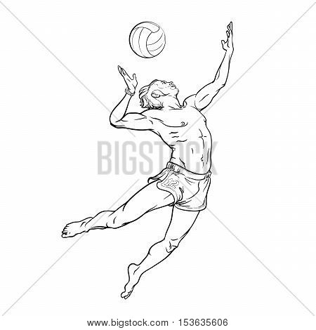 Summer water sport activities. Young athletic man serving an overhead ball in beach volleyball. Dynamic pose. Hand drawn sketch isolated on white background. EPS10 vector illustration.