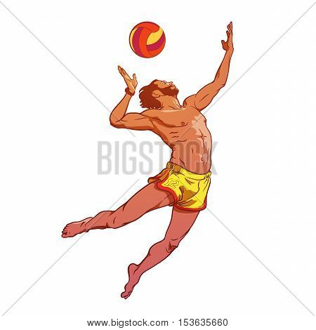 Summer water sport activities. Young athletic man serving an overhead ball in beach volleyball. Dynamic pose. Hand drawn painted sketch isolated on white background. EPS10 vector illustration.