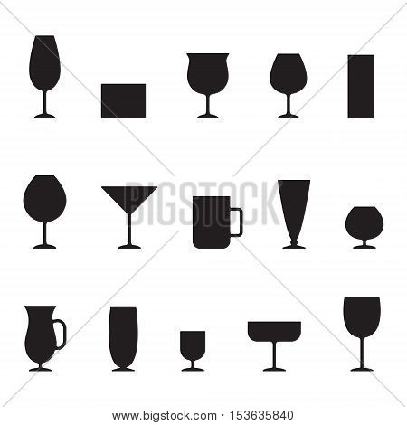 Stemware and glasses black silhouettes vector icon set. Minimal design.