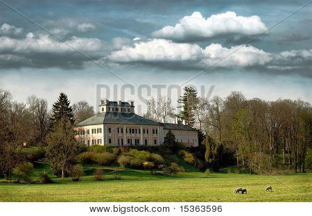 Idyllic scenery with romantic castle