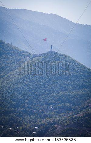Statue of Ataturk ontop of a mountain in Artvin Turkey.