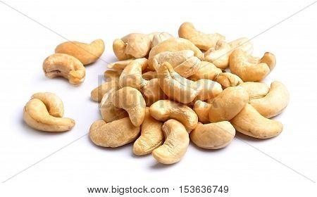 Cashew nut close up on white isolated.