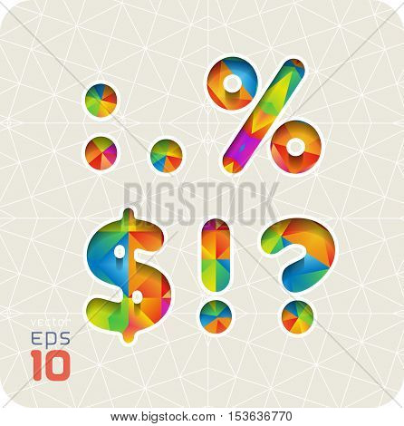 Joyful 3d set of cut paper vector alphabet. The punctuation and symbols, colon, point, percentage, dollar, exclamation, question. Multicolored gradient.