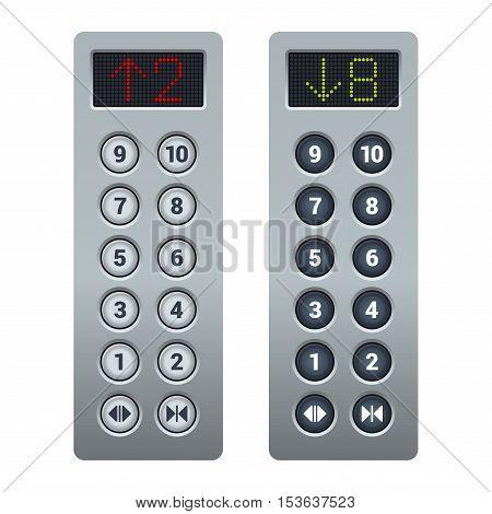 Steel Elevator Buttons Panel Set. Vector illustration