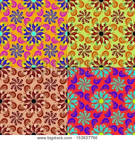 Set of seamless vector patterns in different colors with classical swirl elements