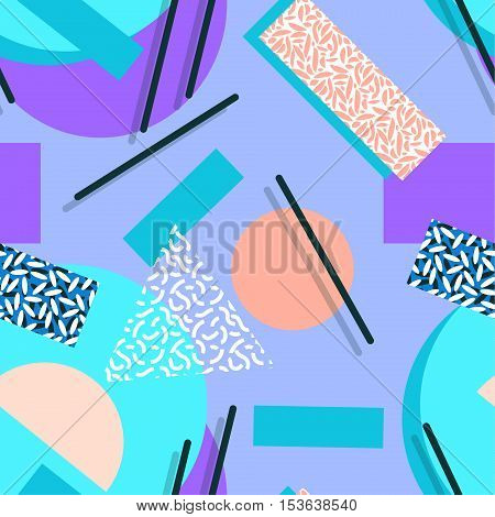 seamless colorful geo pattern. memphis trend. Basic shapes overlapping, neon colors, small original textures