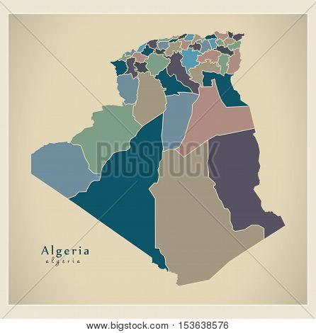 Modern Map - Algeria with provinces colored DZ Algeria vector