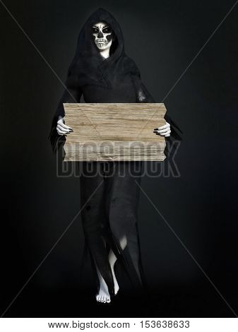 Female reaper or witch dressed in a black cloak holding a blank wooden sign 3D rendering. Dark background.