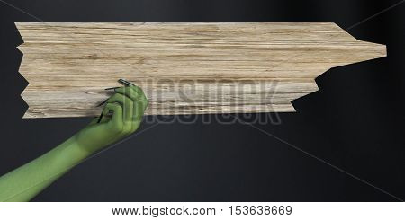 Green witch hand with long black fingernails holding a blank wooden sign 3D rendering. Dark background.
