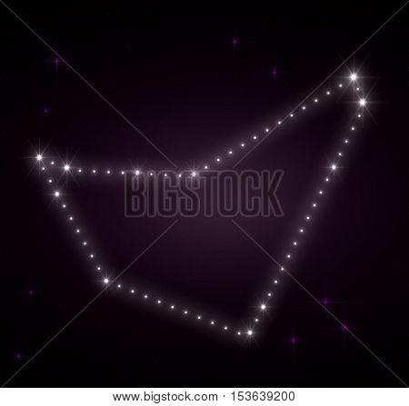 Capricornus zodiac sign. Galactic constellations, stars. Constellation map. Constellations background. Space stars. Horoscope constellations background. Zodiac constellations.