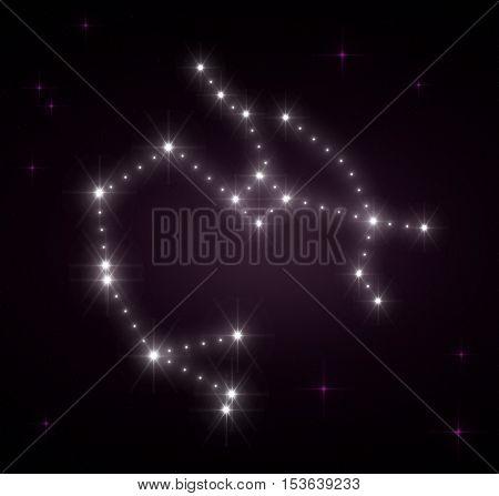 Sagittarius zodiac sign. Horoscope constellations background. Constellation map. Constellations background. Space stars. Zodiac constellations. Galactic constellations, stars.