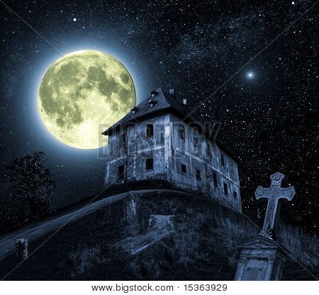 Night scene with full moon and haunted house