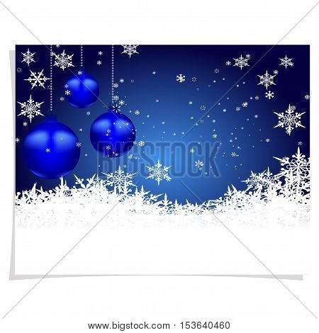 Christmas, New Year s card. Three blue shiny ball on a beautiful Christmas background. Hang among snowflakes. Christmas tree toy. vector illustration