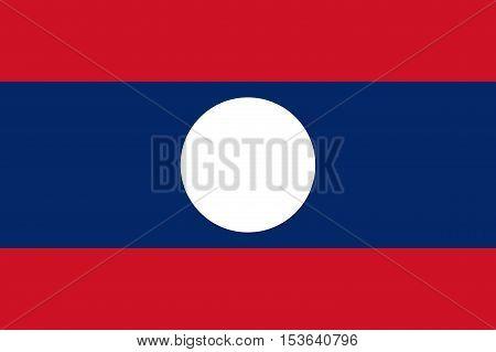 Official vector flag of Laos . Lao People's Democratic Republic