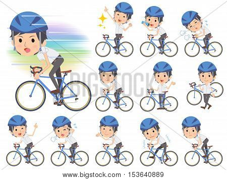 White Short Sleeved Shirt Business Men On Rode Bicycle