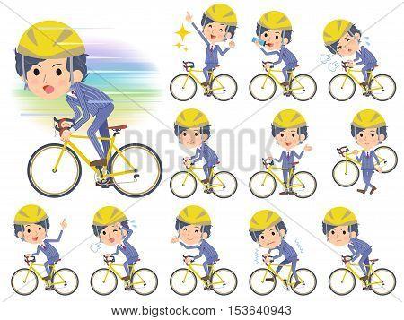 Stripe Suit Perm Hair Men On Rode Bicycle