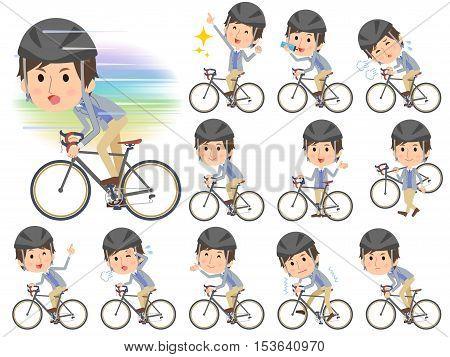 Jacket Blue Vest Men On Rode Bicycle