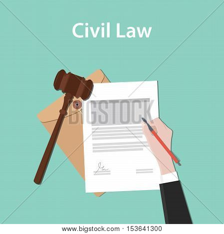civil law illustration concept a business man hand signing a paper document with flat style with gavel vector