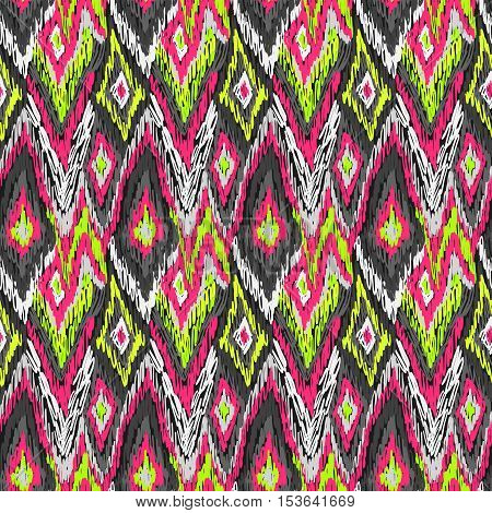 Ethnic Ikat Ornament Doodles Fabric Pattern Pink Yellow