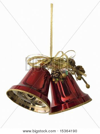 New year's hand bell. Isolated.