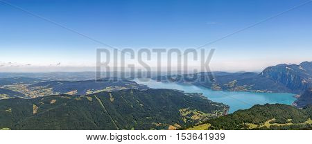 Panoramic view of Alps mountain with Attersee lake from Schafberg mountain Austria