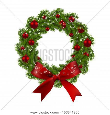 Christmas wreath. Green fir branches with red balls and bow on a white background. Christmas decorations. Vector illustration
