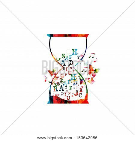 Colorful font letters inside hourglass vector illustration. Alphabetic design for news, creative writing, storytelling, blogging, education, book cover, article, website content writing, copywriting