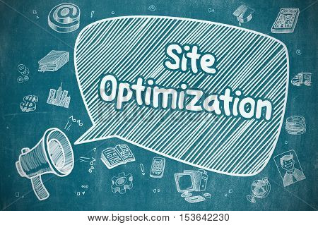 Site Optimization on Speech Bubble. Cartoon Illustration of Shrieking Loudspeaker. Advertising Concept.