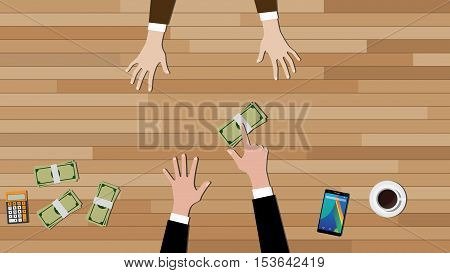 full refund concept illustration with business man give a full cash money to others vector