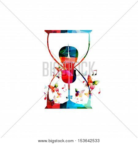 Music template vector illustration, colorful viloncello, creative music instrument background with music notes. Musical symbols for poster, brochure, banner, flyer, concert, music festival, music shop