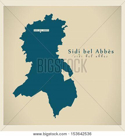 Modern Map - Sidi bel Abbes DZ Algeria vector