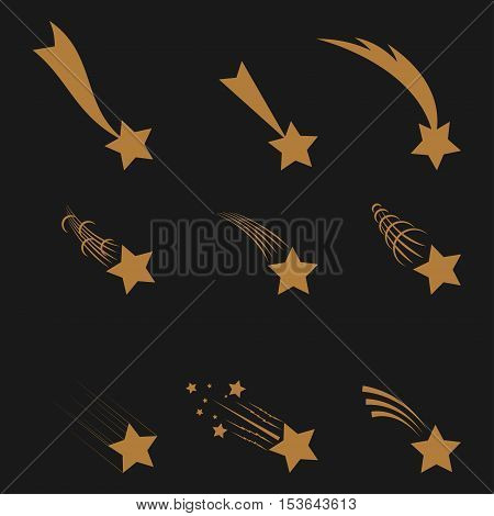 Falling gold  stars vector set Icons of meteorites and comets