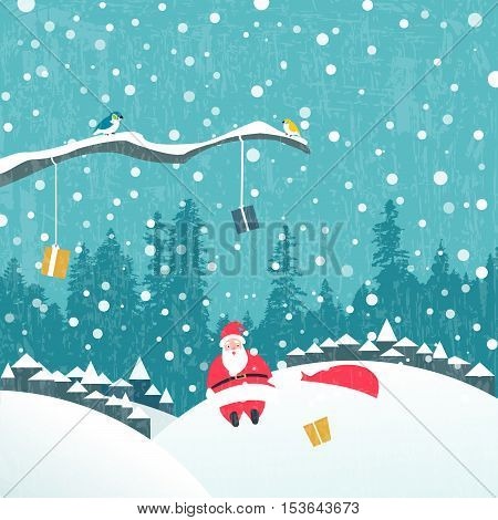 Santa claus Christmas card. Santa claus fell from a tree during delivering gifts