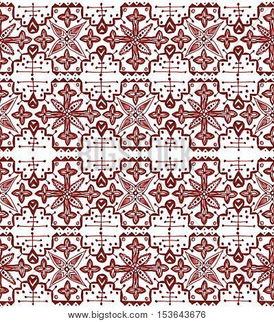 Ethnic seamless pattern. Boho sanguine ornament. Repeating background. Tribal aboriginal art print. Fabric cloth design wallpaper wrapping Watercolor and Hand painted