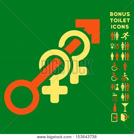 Harem icon and bonus man and lady lavatory symbols. Glyph illustration style is flat iconic bicolor symbols, orange and yellow colors, green background.