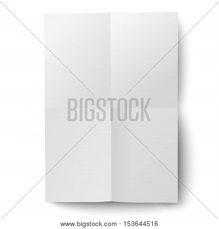 Vector sheet of white paper folded and then unfolded