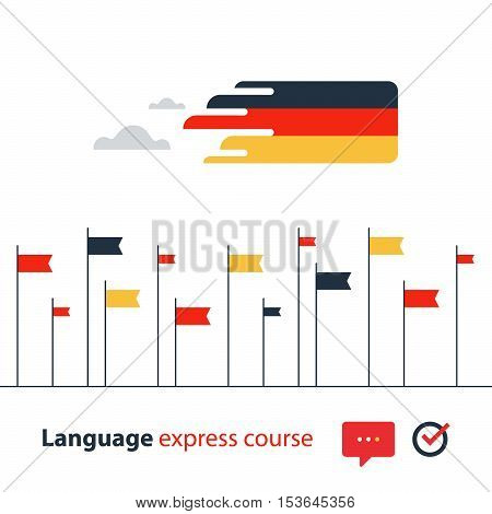 Advertising concept lingual classes. Flat design vector illustration