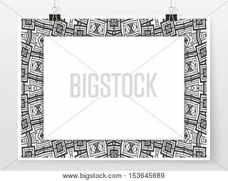 Ethnic ornament frame design poster. Banner or flyer trendy template. Abstract frame for your design. Simple vector illustration for web design or business printed products.