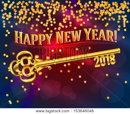 Card Happy New Year 2018 on bright red background festive glittering gold confetti & vintage golden key. Concept of the beginning year open path prosperity & well-being. Vector illustration EPS 10